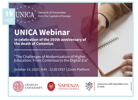 "La Cátedra UNESCO participa en el UNICA Webinar ""The Challenges of Modernization of Higher Education: From Comenius to the Digital Era"""